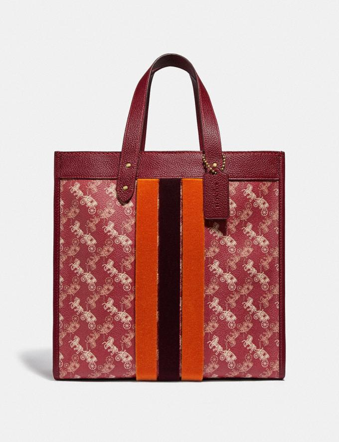Coach Lunar New Year Field Tote With Horse and Carriage Print and Varsity Stripe Brass/Red Deep Red New Women's New Arrivals Collection