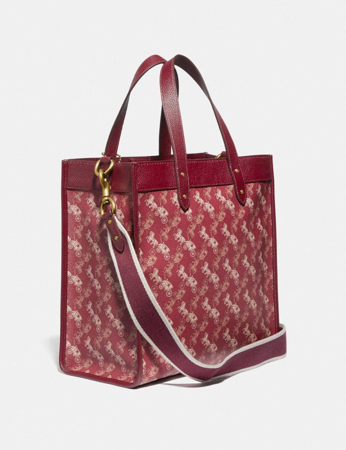 Coach Lunar New Year Field Tote With Horse and Carriage Print and Varsity Stripe Brass/Red Deep Red Women Handbags Totes & Carryalls Alternate View 1