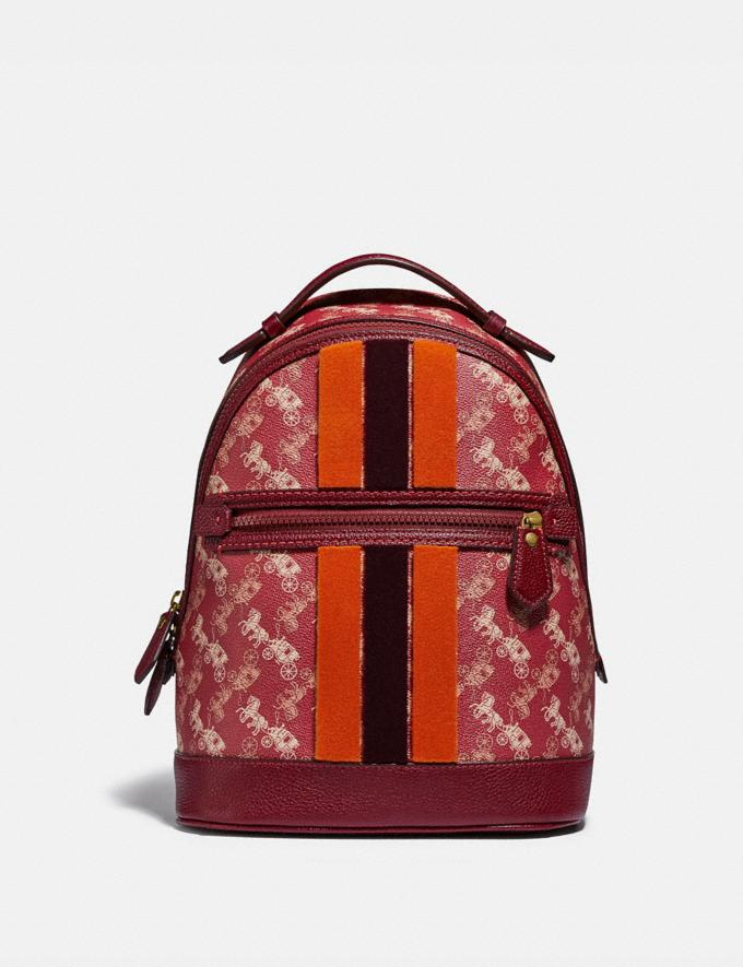 Coach Lunar New Year Barrow Backpack With Horse and Carriage Print and Varsity Stripe Brass/Red Deep Red Women Handbags Diaper Bags