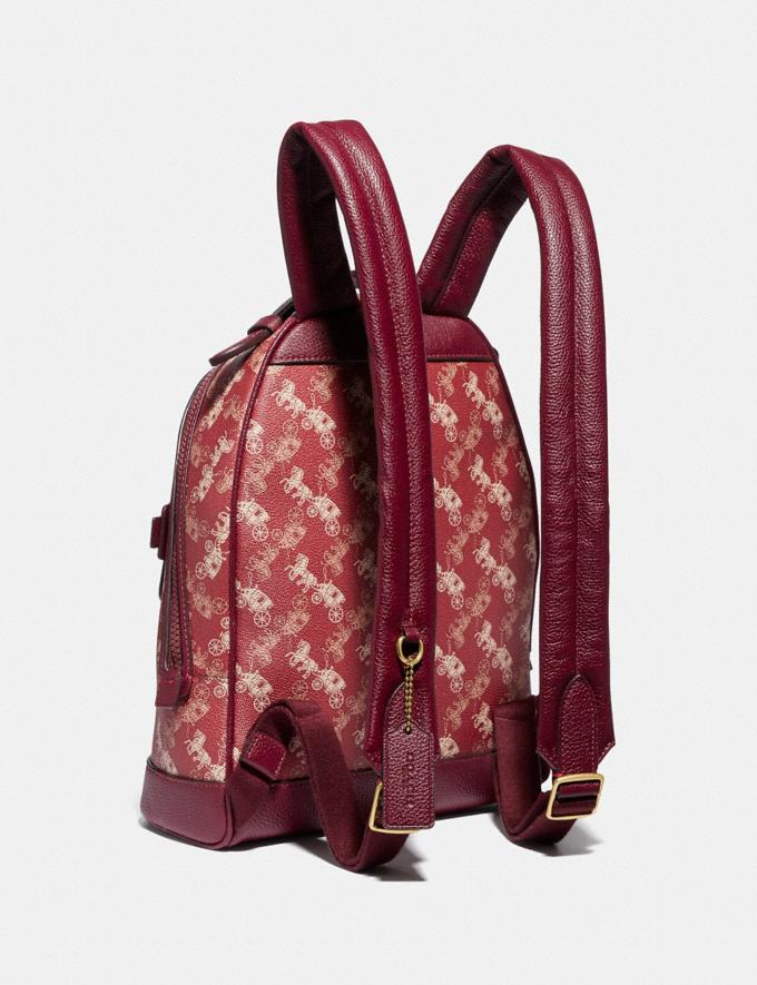 Coach Lunar New Year Barrow Backpack With Horse and Carriage Print and Varsity Stripe Brass/Red Deep Red Women Handbags Diaper Bags Alternate View 1