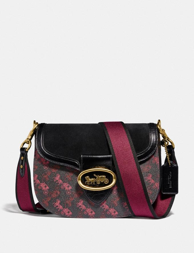 Coach Kat Saddle Bag With Horse and Carriage Print Brass/Black/Black VIP SALE Women's Sale Bags
