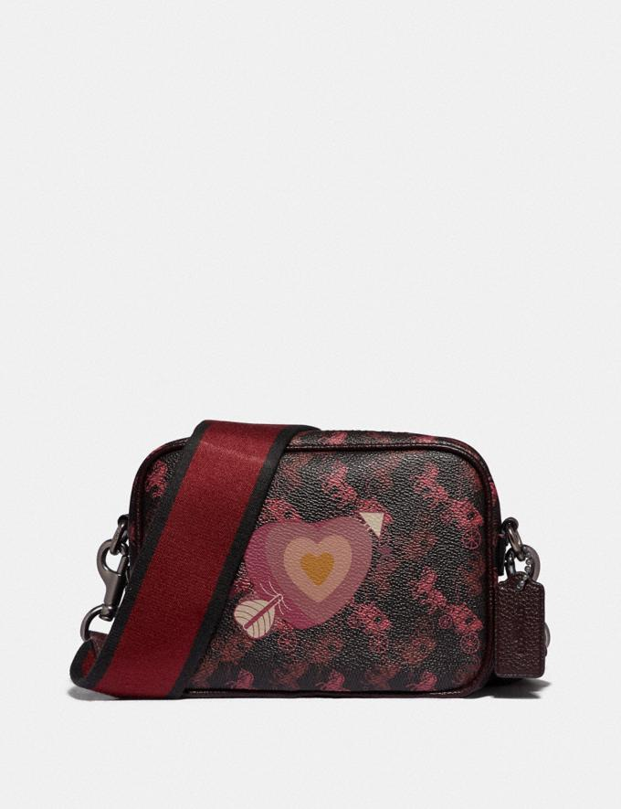 Coach Camera Bag 16 With Horse and Carriage Print and Heart Pewter/Black Oxblood