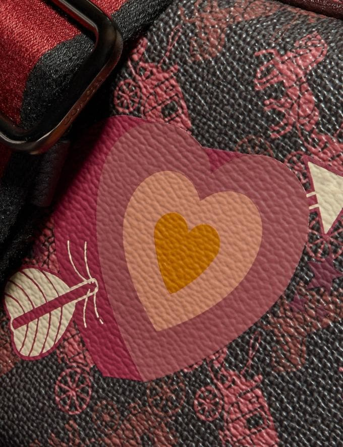 Coach Camera Bag 16 With Horse and Carriage Print and Heart Pewter/Black Oxblood  Alternate View 4