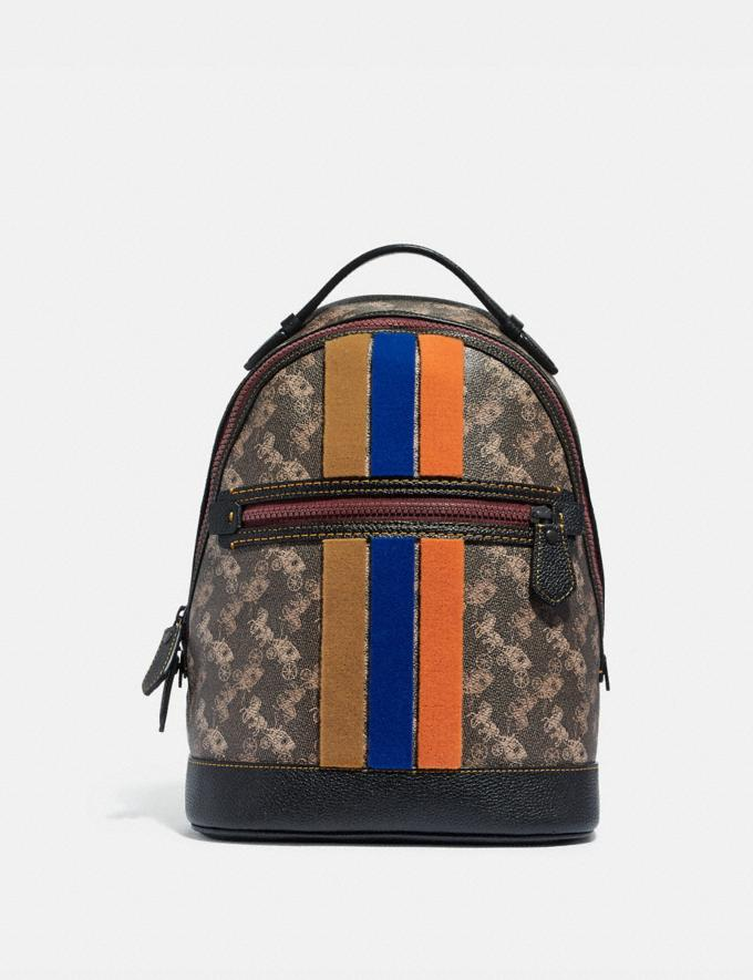 Coach Barrow Backpack With Horse and Carriage Print and Varsity Stripe Pewter/Brown Black VIP SALE Women's Sale Bags