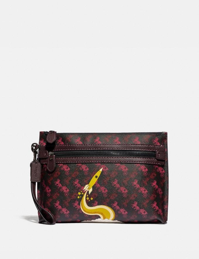 Coach Academy Pouch With Horse and Carriage Print and Rocket Black/Red Men Edits Travel