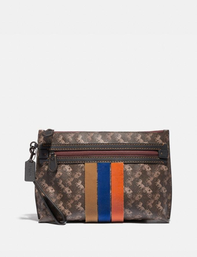Coach Academy Pouch With Horse and Carriage Print and Varsity Stripe Brown/Tan Men Bags Pouches