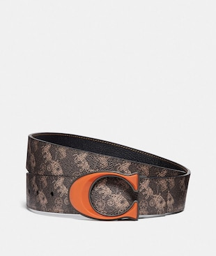 SIGNATURE BUCKLE REVERSIBLE BELT WITH HORSE AND CARRIAGE PRINT, 38MM