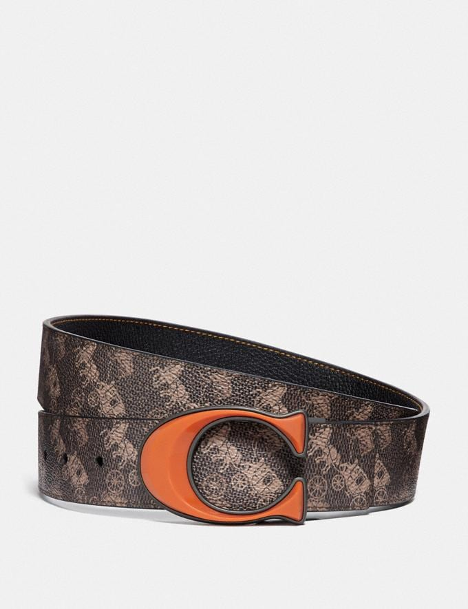 Coach Signature Buckle Reversible Belt With Horse and Carriage Print, 38mm Brown/Tan New Men's New Arrivals Accessories