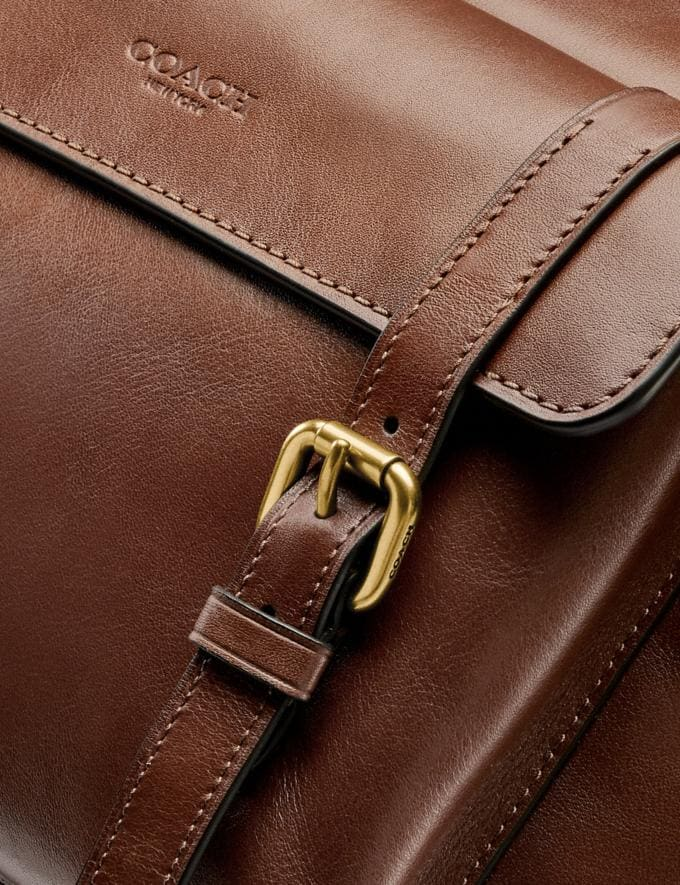 Coach Bleecker Messenger Brass/Saddle Men Bags Messenger & Crossbody Alternate View 1