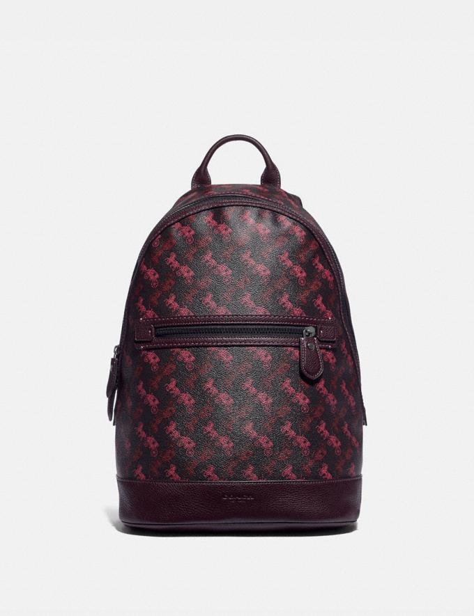 Coach Barrow Backpack With Horse and Carriage Print Black Copper/Black Red Men Bags Backpacks