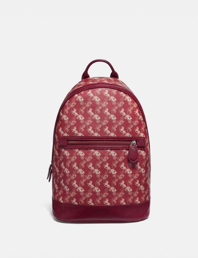 Coach Barrow Backpack With Horse and Carriage Print Black Copper/Red Pink New Men's New Arrivals Collection