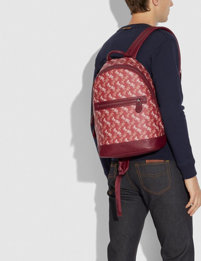 Coach Barrow Backpack With Horse and Carriage Print Black Copper/Red Pink New Men's New Arrivals Collection Alternate View 3