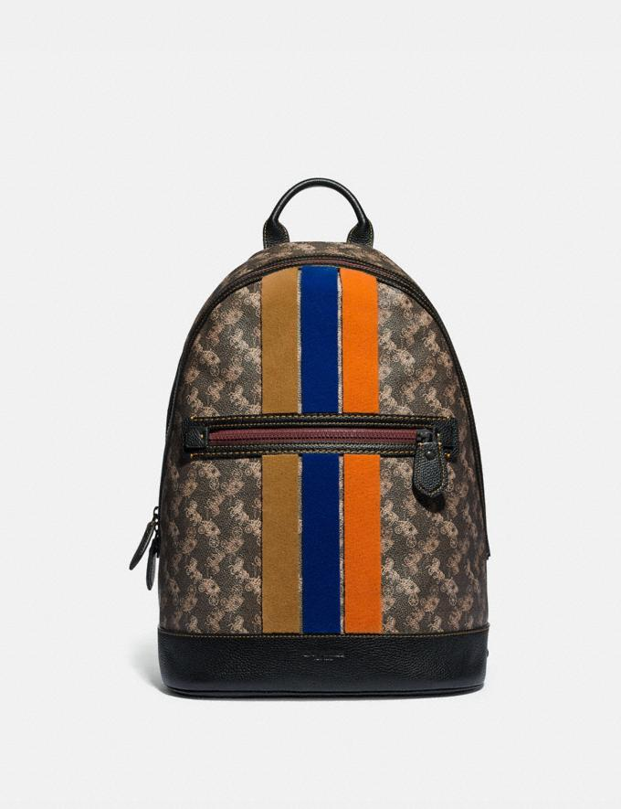 Coach Barrow Backpack With Horse and Carriage Print and Varsity Stripe Black Copper/Black Brown Gifts For Him Under $500