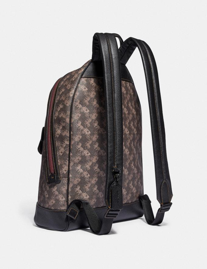Coach Barrow Backpack With Horse and Carriage Print and Varsity Stripe Black Copper/Black Brown SALE Men's Sale Alternate View 1