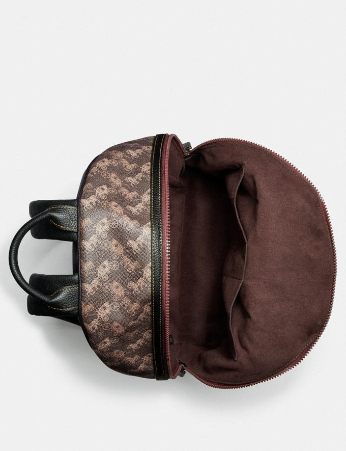 Coach Barrow Backpack With Horse and Carriage Print and Varsity Stripe Black Copper/Black Brown Gifts For Him Under $500 Alternate View 2