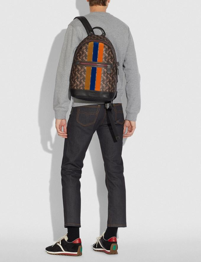 Coach Barrow Backpack With Horse and Carriage Print and Varsity Stripe Black Copper/Black Brown SALE Men's Sale Alternate View 3