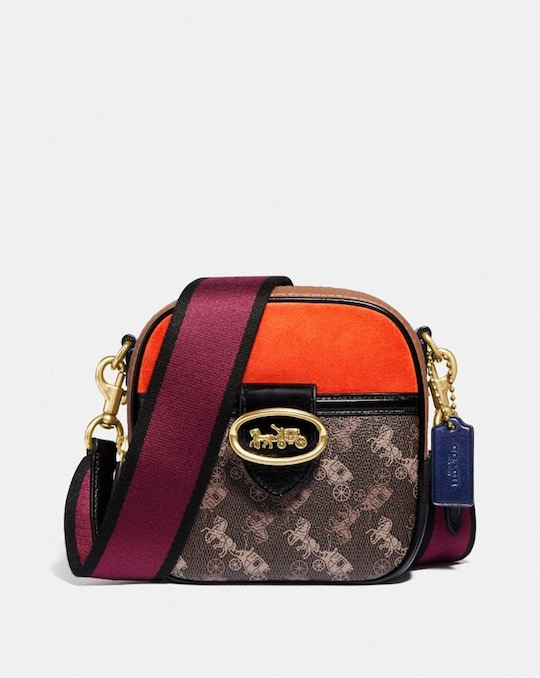 KAT CAMERA BAG WITH COLORBLOCK HORSE AND CARRIAGE PRINT