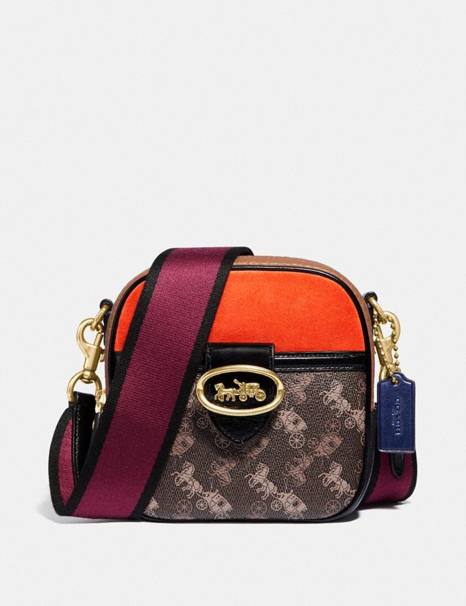 Coach Kat Camera Bag With Colorblock Horse and Carriage Print B4/Brown Black Multi Women Bags Crossbody Bags