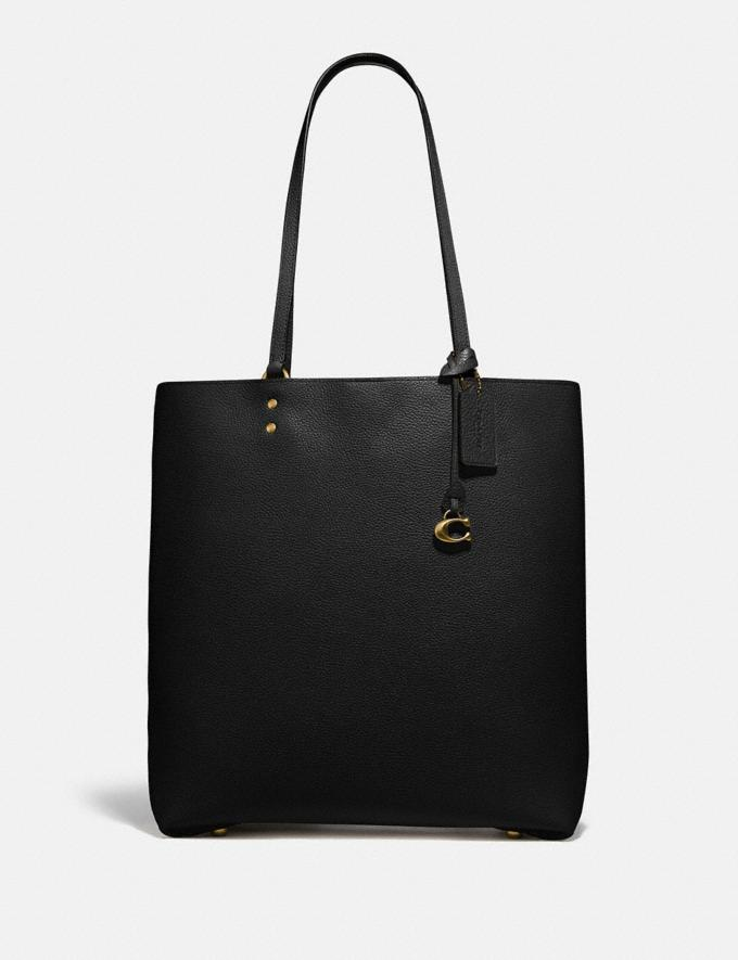 Coach Plaza Tote Brass/Black Women Bags Totes