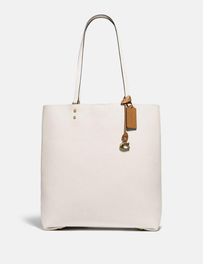 Coach Plaza Tote Brass/Chalk Women Bags Totes