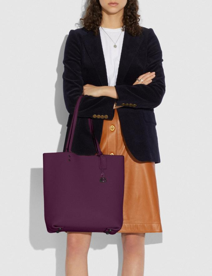 Coach Plaza Tote Pewter/Boysenberry Women Edits Work Alternate View 3