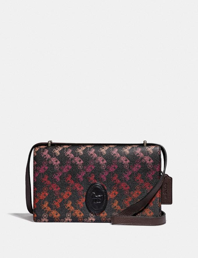 Coach Camille Crossbody With Horse and Carriage Print and Archive Patch Pewter/Multi Black