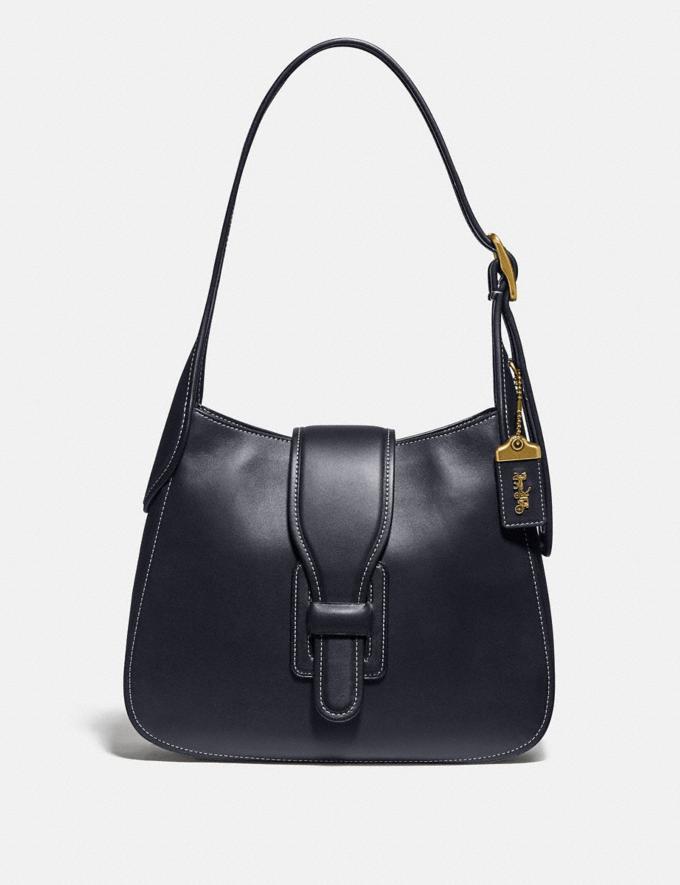 Coach Courier Hobo Brass/Midnight Navy Women Handbags Shoulder Bags & Hobos