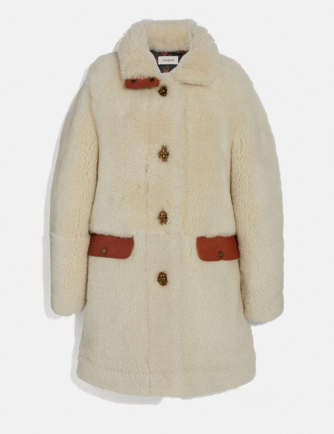 Coach Shearling Coat Cream New Women's New Arrivals Ready-to-Wear