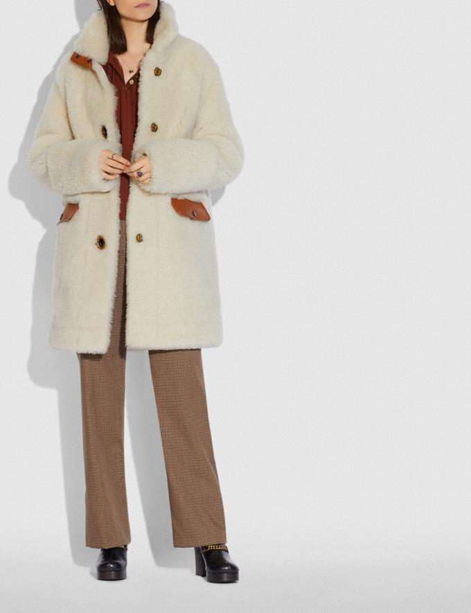Coach Shearling Coat Cream Women Ready-to-Wear Coats & Jackets Alternate View 1