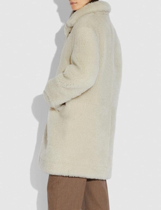 Coach Shearling Coat Cream New Women's New Arrivals Ready-to-Wear Alternate View 2