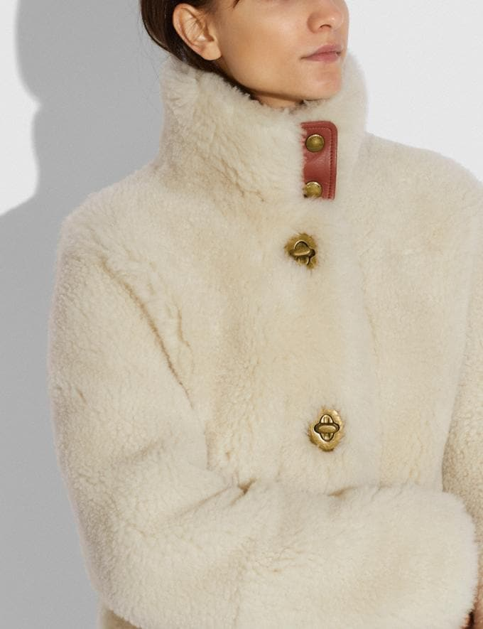 Coach Shearling Coat Cream New Women's New Arrivals Ready-to-Wear Alternate View 3