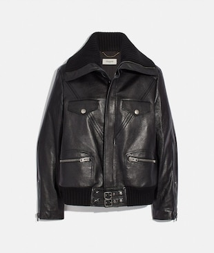 LEATHER JACKET WITH KNIT COLLAR