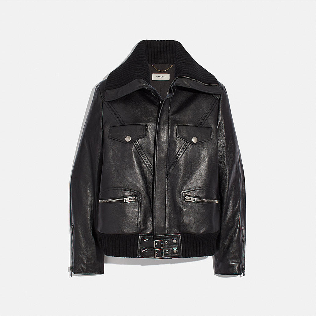 Leather Jacket With Knit Collar by Coach