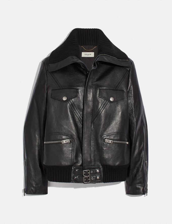 Coach Leather Jacket With Knit Collar Black New Women's New Arrivals Ready-to-Wear
