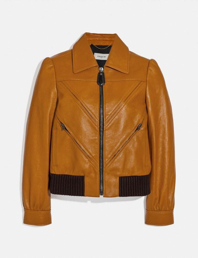 Coach Leather Tailored Bomber Jacket With Piecing Saffron Women Ready-to-Wear Jackets & Outerwear
