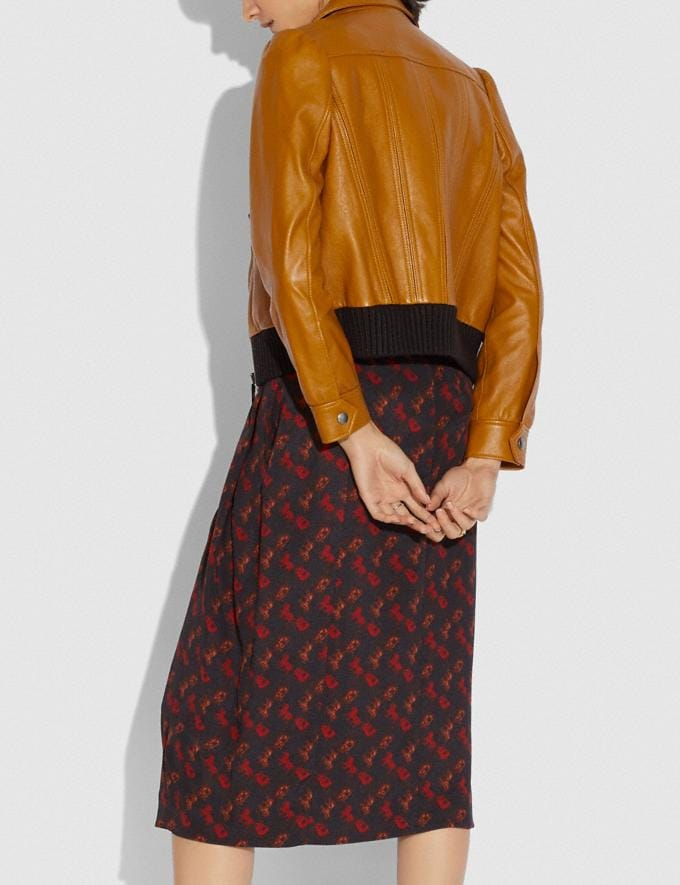 Coach Leather Tailored Bomber Jacket With Piecing Saffron Women Ready-to-Wear Jackets & Outerwear Alternate View 2