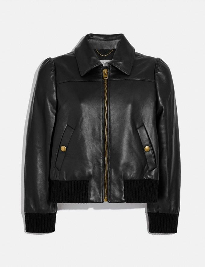 Coach Leather Tailored Bomber Jacket Black Women Ready-to-Wear Coats & Jackets