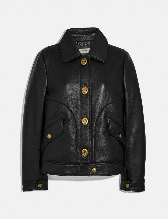 Coach Bonded Leather Jacket Black