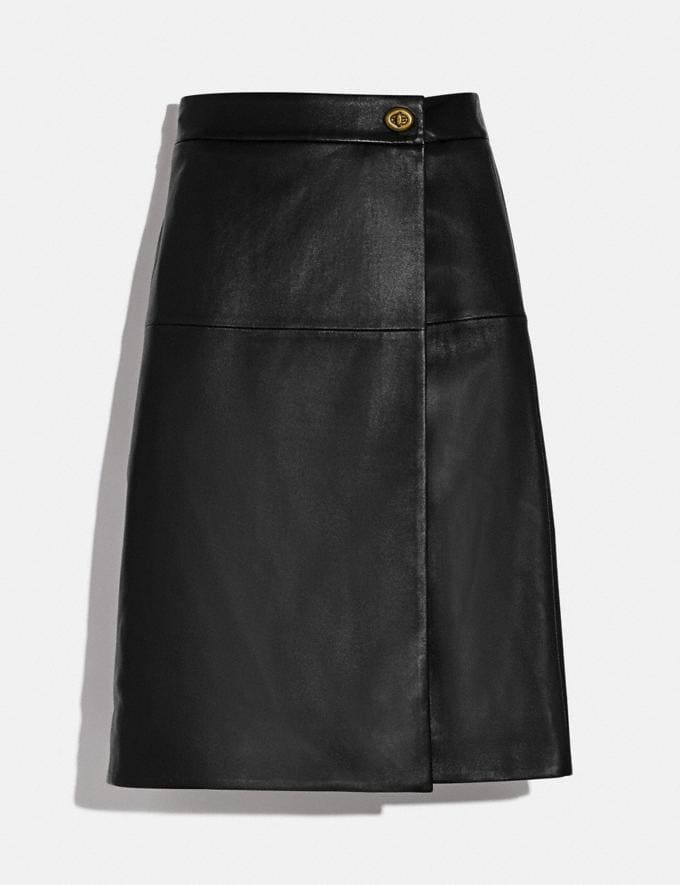 Coach Leather Skirt With Turnlock Black