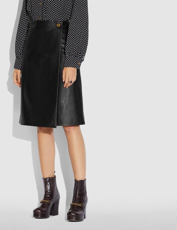 Coach Leather Skirt With Turnlock Black New Women's New Arrivals Ready-to-Wear Alternate View 1