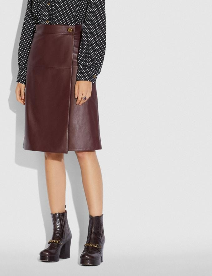 Coach Leather Skirt With Turnlock Cranberry  Alternate View 1