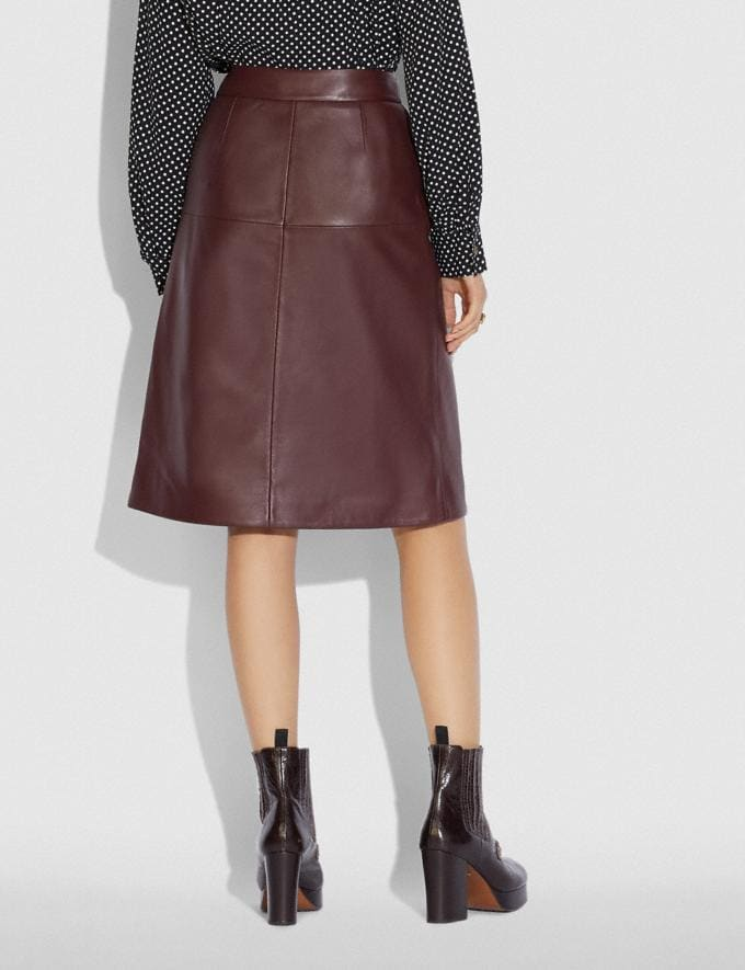 Coach Leather Skirt With Turnlock Cranberry  Alternate View 2