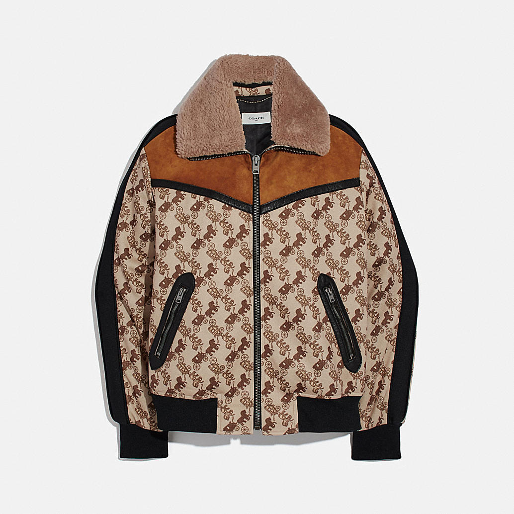 Horse And Carriage Print Jacket With Removable Shearling Collar by Coach