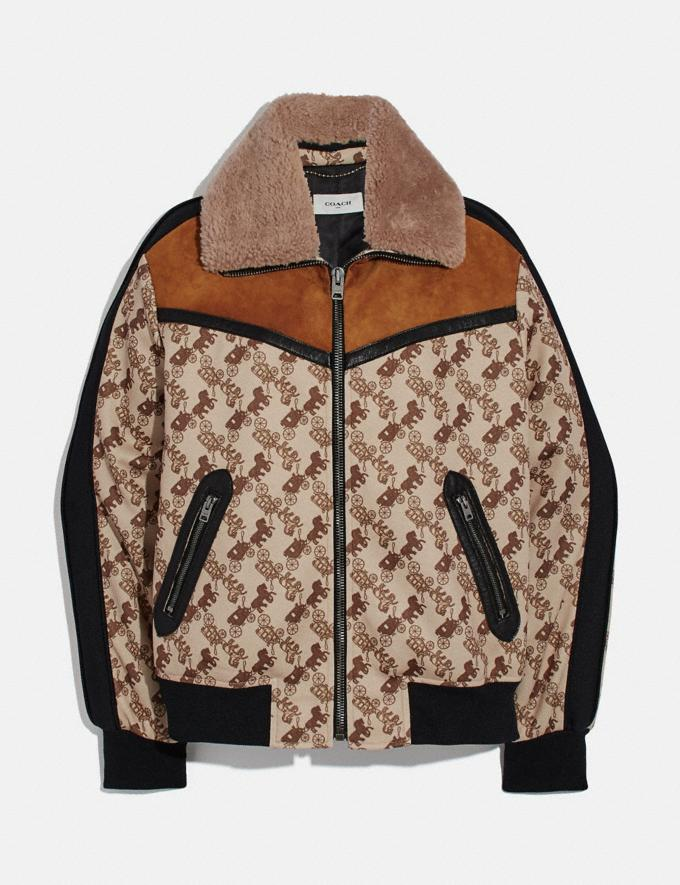Coach Horse and Carriage Print Jacket With Removable Shearling Collar Camel