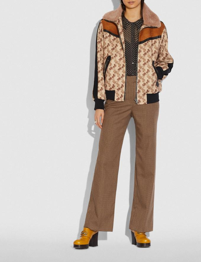 Coach Horse and Carriage Print Jacket With Removable Shearling Collar Camel  Alternate View 1