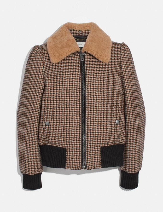 Coach Check Bomber Jacket With Removable Shearling Collar Brown Women Ready-to-Wear Coats & Jackets