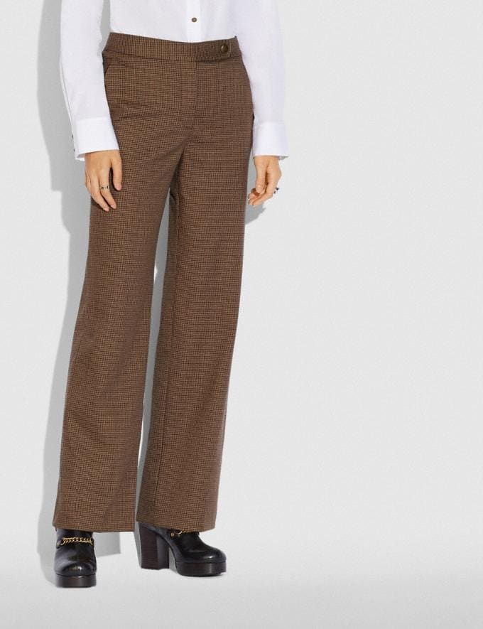 Coach Check Trousers Brown  Alternate View 1