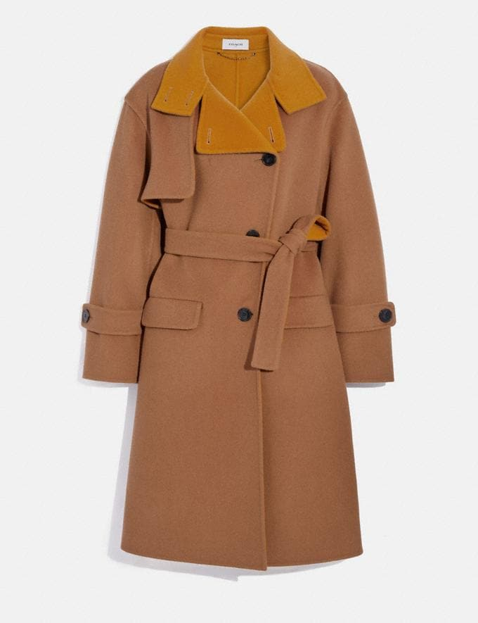 Coach Oversized Storm Flap Coat Camel/Yellow