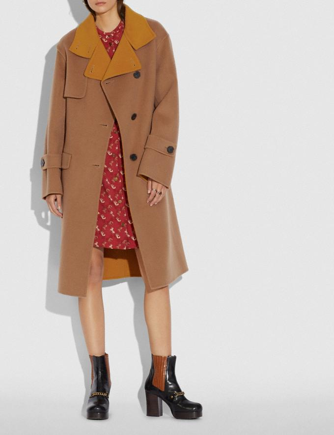 Coach Oversized Storm Flap Coat Camel/Yellow Women Ready-to-Wear Jackets & Outerwear Alternate View 1