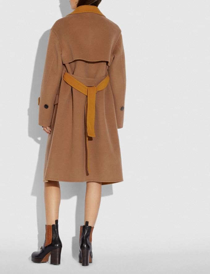 Coach Oversized Storm Flap Coat Camel/Yellow Women Ready-to-Wear Jackets & Outerwear Alternate View 2